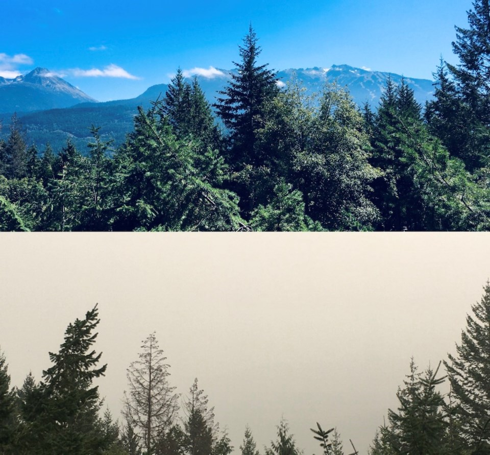 before and after whistler view smoky skies (clare ogilvie)