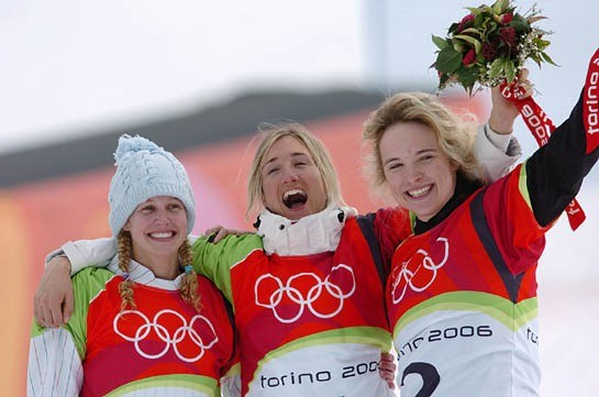 Canadian Dominique Maltais, right, won bronze in women's snowboard cross Friday, Feb. 17. Swiss Tanja Frieden, middle, won gold and Lindsey Jacobellis, U.S. silver. Photo by Matt Crossman