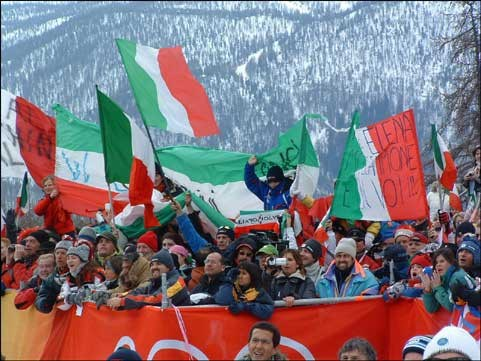 Italian fans cheer at the women's downhill in San Sicario.