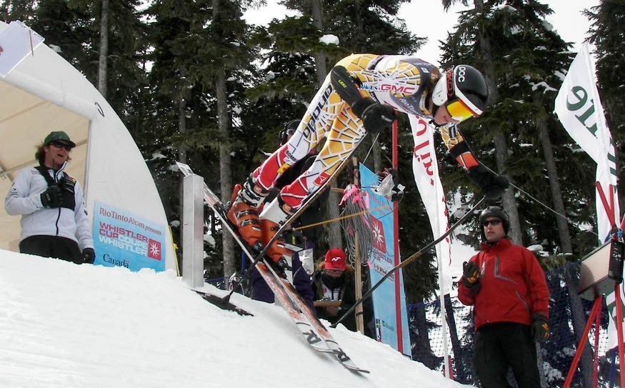 MORE COW BELL One of Canada's top young competitors springs out of the Ptarmigan start gate at the Rio Tinto Whistler Cup on Sunday. Photo by John French