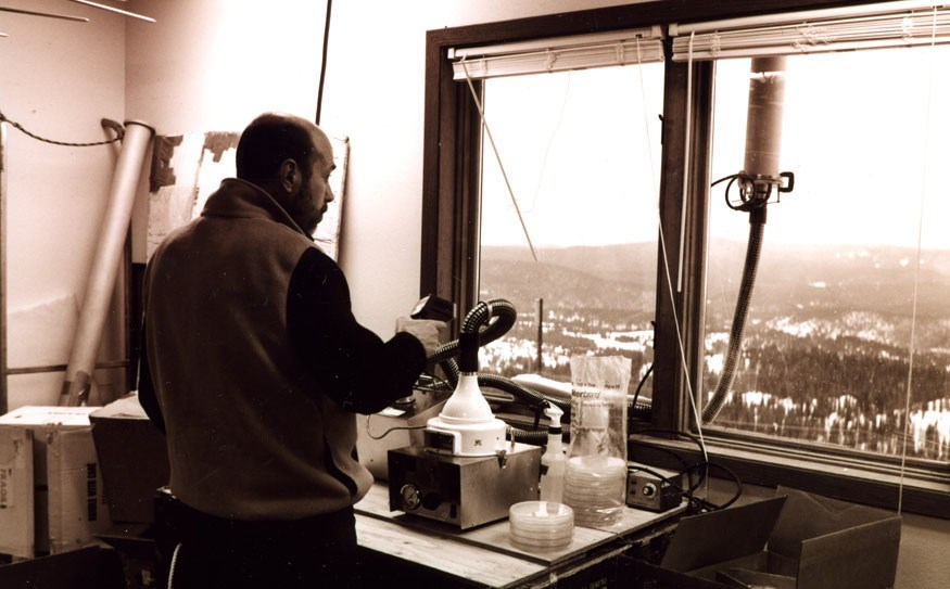 Gary Franc, who died recently, at a mountaintop research station in the Rocky Mountains where researchers collect microbes directly out of clouds passing over. Photo supplied by Gary Franc
