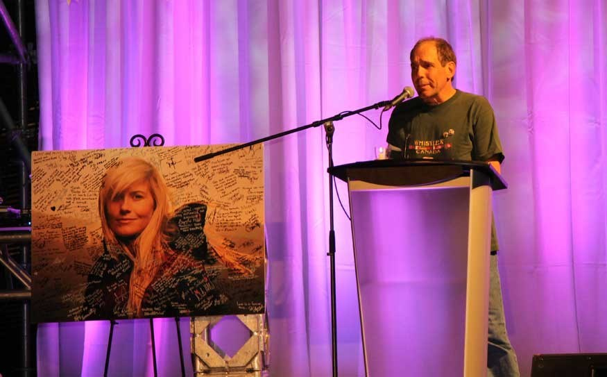 REMEMBERING SARAH - Gordon Burke, the father of fallen freeskier Sarah Burke, shared memories of his daughter at her Celebration of Life in April.