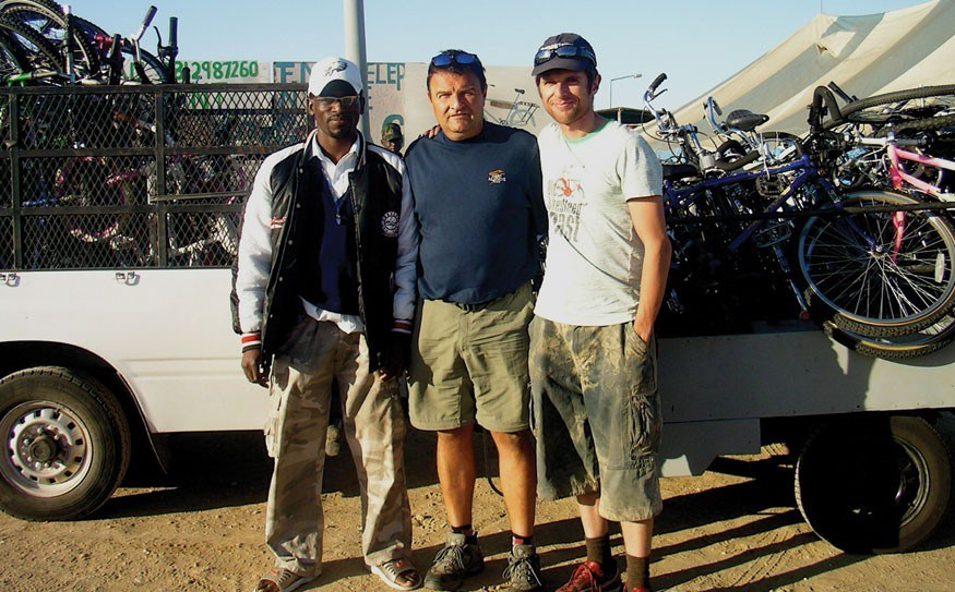 A centre was built in Karmoja, Uganda to manage the program. Pat Montani with the local team in Uganda.