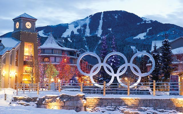 Olympics Rings in Olympic Plaza. Photo by Mike Crane, courtesy of Toursim Whistler