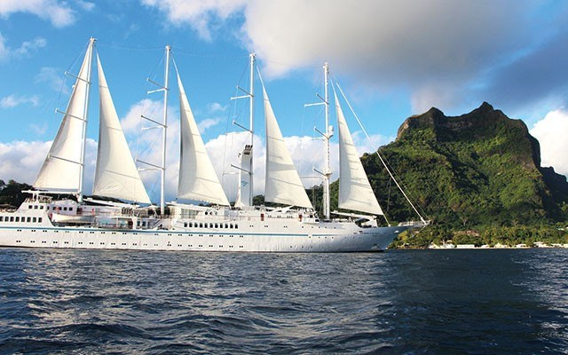 The Windstar's four masts tower up 62 metres above the sea. Photo by LIsa TE SOnne
