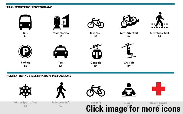 I SAW THE SIGN A list of proposed pictograms that could be incorporated into Whistler's updated wayfinding system. Image courtesy of the Resort Municipality of Whistler