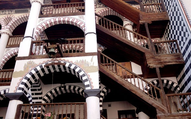 One of the fantastic tiered facades of the Rila Monastery building. Photo by Alison Appelbe
