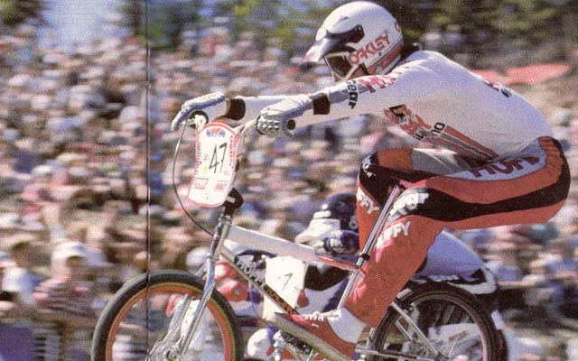 "RIDING ALONG Pro 20"" champion Gary Ellis competes during the 1985 World BMX Championships in Whistler. Photo by Windy courtesy of Craig ""Gork"" Barrette"