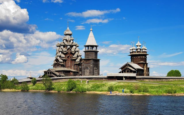 Wooden churches on Kizhi island on lake Onega, Russia. shutterstock photo