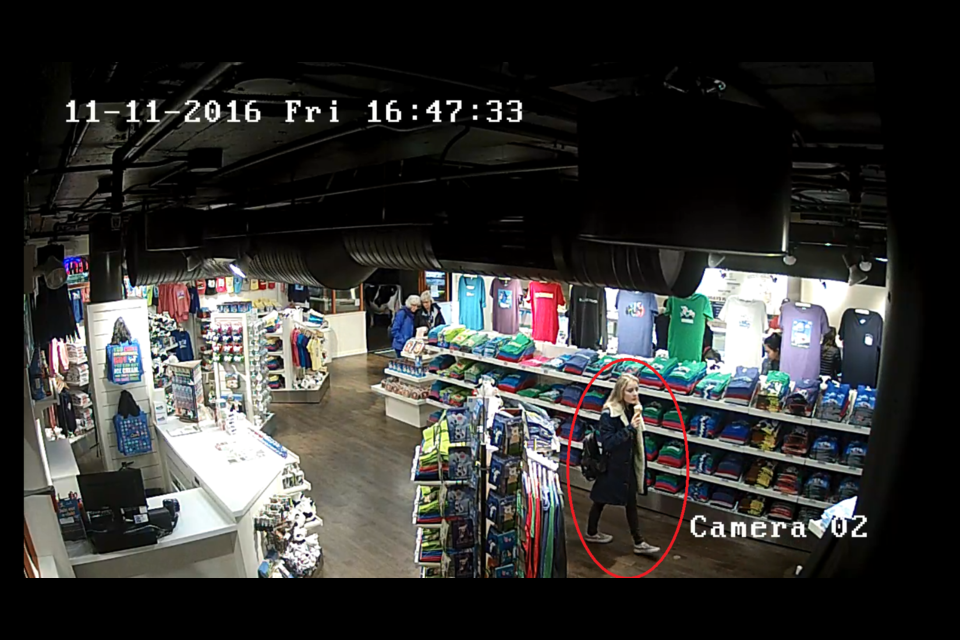 A screenshot from a village story security camera of a female suspect linked to a jewelry theft from Nov. 11. Click on the image to see more photos of the suspect. Screenshot courtesy of WHistler RCMP