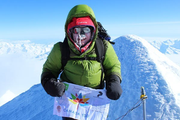 Like a pro Naomi Prohaska is shown atop Mount Logan on May 24. PHOTO by Rich Prohaska