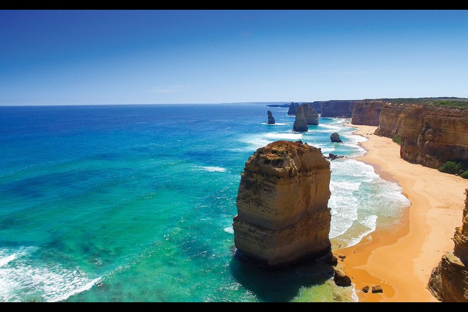 """The Twelve Apostles are the limestone stacks in the Pacific off the Great Ocean Road outside Melbourne, Australia. Photo by <a href=""""http://shutterstock.com"""">shutterstock.com</a>"""