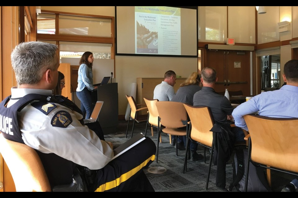 FLIGHT PLAN Emergency program coordinator Erin Marriner presents to Whistler's Emergency Preparedness Committee on May 2. Photo by Braden Dupuis