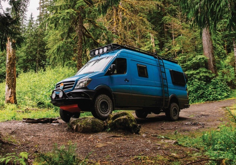 VAN LIFE Out of the Blue is one of the custom creations of North Vancouver's Nomad Vanz, a company that takes the empty shell of a Mercedes Sprinter van and converts it into a dream vehicle for off-the-grid travel. Photo courtesy Nomad Vanz</p>