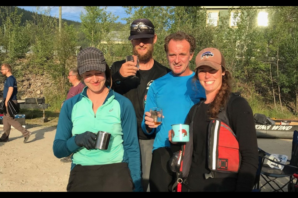 TEAM EFFORT L-R Heather Hellevang, George McLeod, Hugh Fisher and Sydney van Loon after winning their division at the Yukon River Quest. <ParaStyle:CUTLINE\:CUTLINE Credit>Photo submitted
