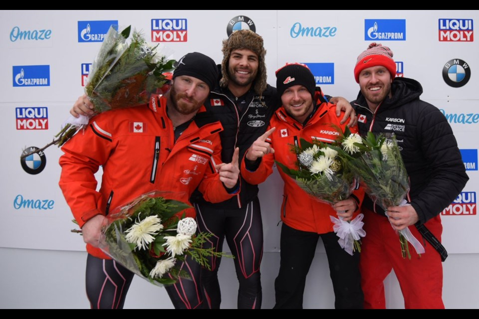 TWO IN A ROW Justin Kripps four-man bobsleigh team posted back-to-back wins in BMW IBSF World Cup action at Lake Placid on Dec. 14 and 15. <ParaStyle:CUTLINE\:CUTLINE Credit><pDropCapDetail:LeftGlyphEdge><pAbsorbIdeoSpace:1><cDiacVPos:5>Photo courtesy of the International Bobsleigh and Skeleton Federation<cDiacVPos:><pDropCapDetail:><pAbsorbIdeoSpace:>