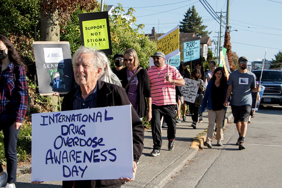 RAISING AWARENESS: A march in the qathet region on International Overdose Awareness Day began at Powell River City Hall, made a stop at MLA Nicholas Simons' office on Marine Avenue, and concluded at Willingdon Beach, where those in attendance heard speeches from people who have lost loved ones due to the ongoing crisis.