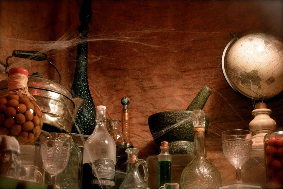 """Let's Talk Trash team member Ingalisa Burns co-created this """"medicine woman's apothecary"""" as an art installation for Halloween balls of years gone by in the qathet region."""