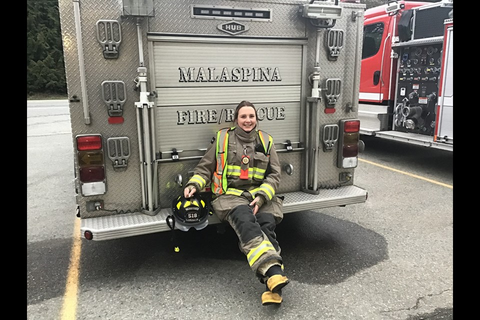 ON CALL: After two years of training to become a full service firefighter, Karrah McKone attends to the majority of calls that come through Malaspina Volunteer Fire Department.
