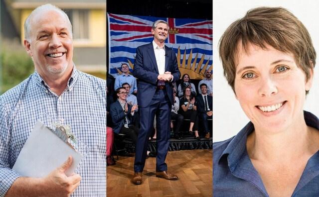 BC party leaders John Horgan Andrew Wilkinson Sonia Furstenau