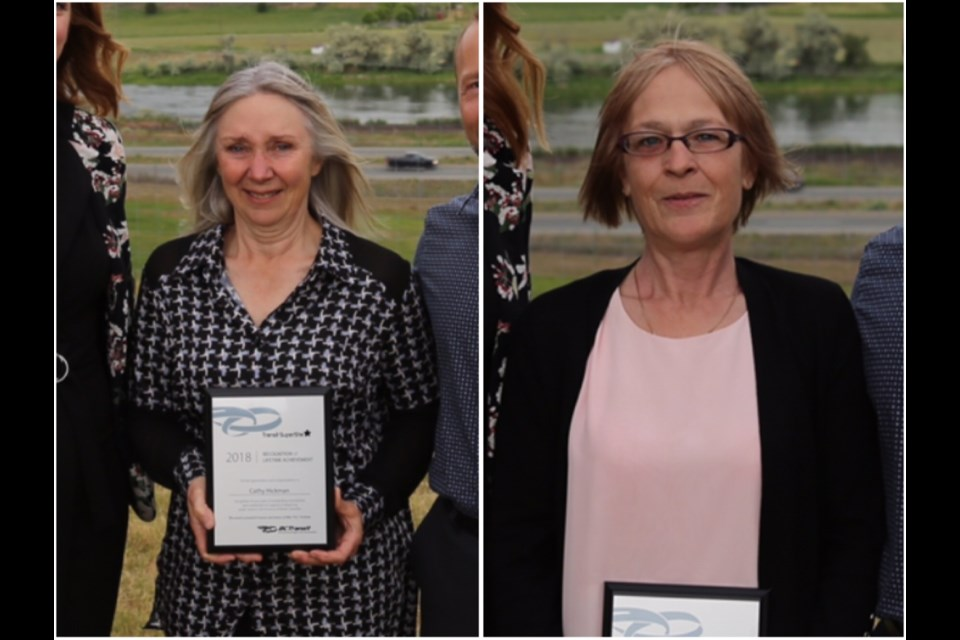 Cathy Hickman (left) and Rosalind Layton, both from Prince George, are recipients of the B.C. Transit awards for their hardwork in community and regional transportation (via Contributed/Kyle Balzer)