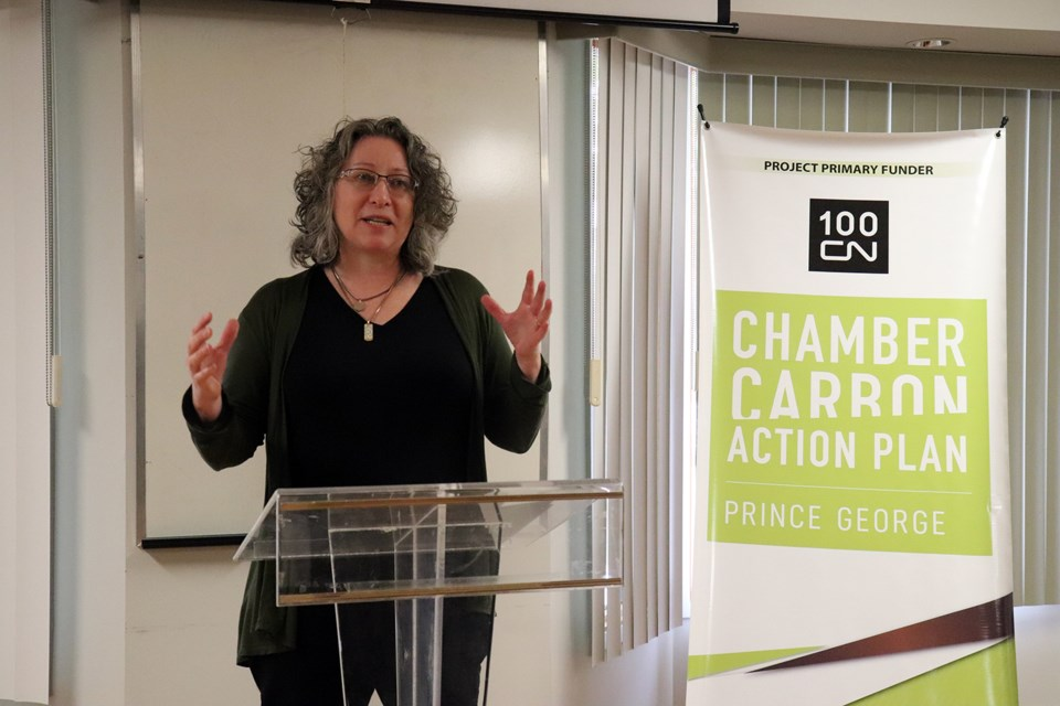 Barbara Otter from the Prince George Chamber of Commerce introduces the speakers at the Chamber's offices. (via Hanna Petersen)