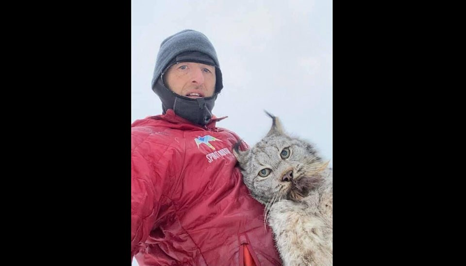 Northern B.C. resident Chris Paulson photographs himself with a lynx that killed some of his chickens after grabbing it by the scruff of the neck.