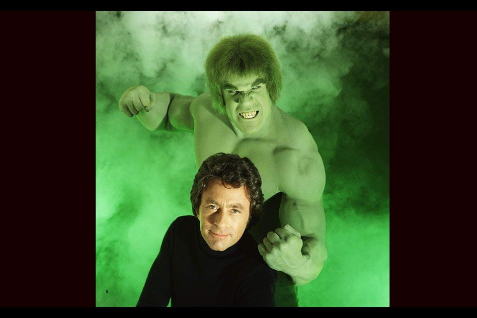 Lou Ferrigno is dressed in green as TV's The Incredible Hulk, the alter-ego of Bill Baxby's Dr. Bruce Banner (via IMDB)