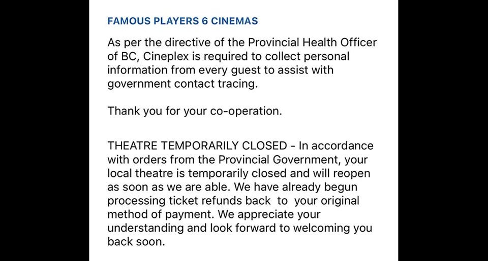Prince George Cineplex closure - Nov. 24, 2020