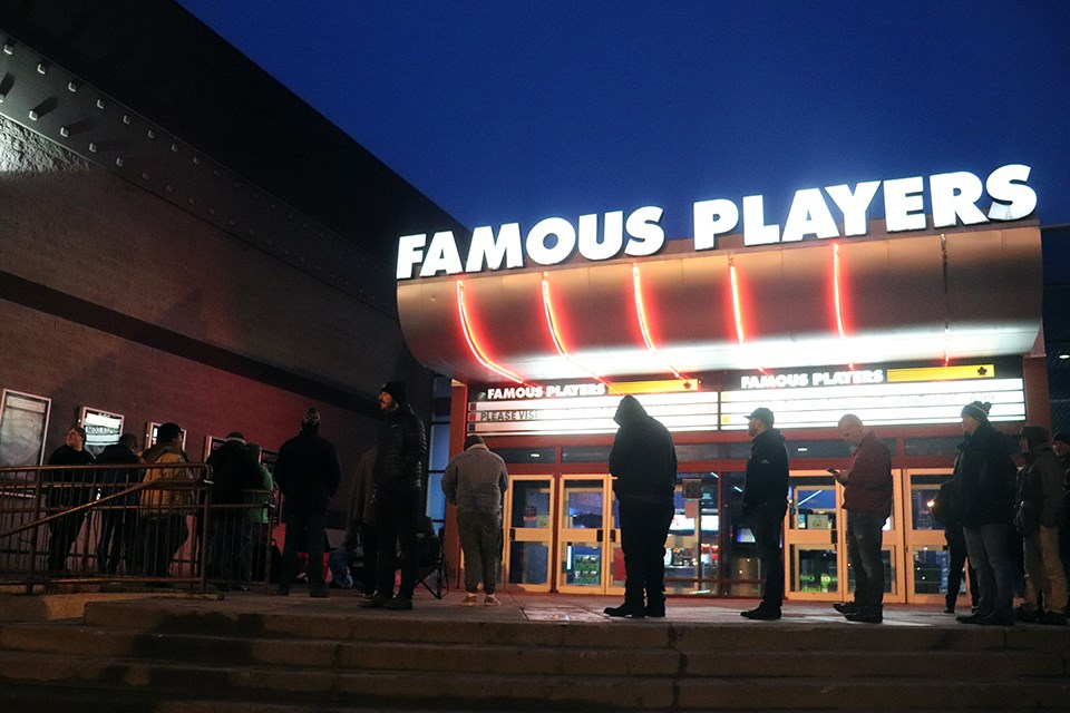 Prince George's Famous Players 6 movie theatre has been temporarily closed in accordance with B.C.'s COVID-19 public health orders as of Nov. 19, 2020. This photo was taken in December 2019 ahead of the premiere of Star Wars: The Rise of Skywalker. (via Kyle Balzer, PrinceGeorgeMatters)