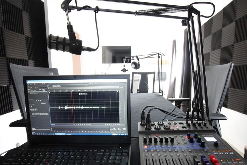 Arts North Digital Studio's podcast equipment.