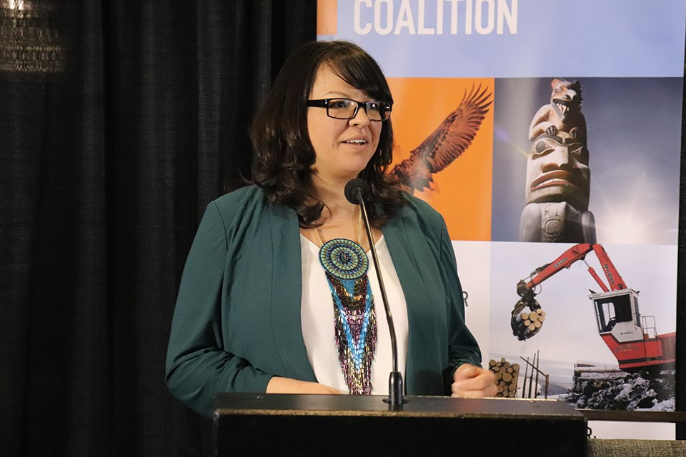 Chief Sharleen Gale, chair of FNMPC, outlined the eight recommendations at a news conference on March 3. (via Hanna Petersen)
