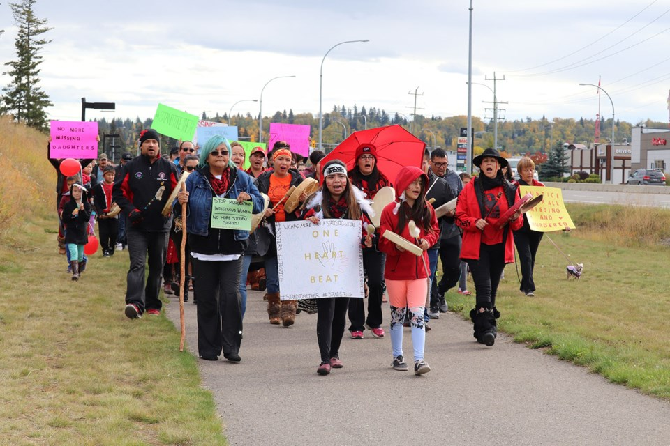 The #StandTogether rally to raise awareness of murdered and missing Indigenous women and girls took place along the Highway of Tears on Sunday (Sept. 23). (via Hanna Petersen)