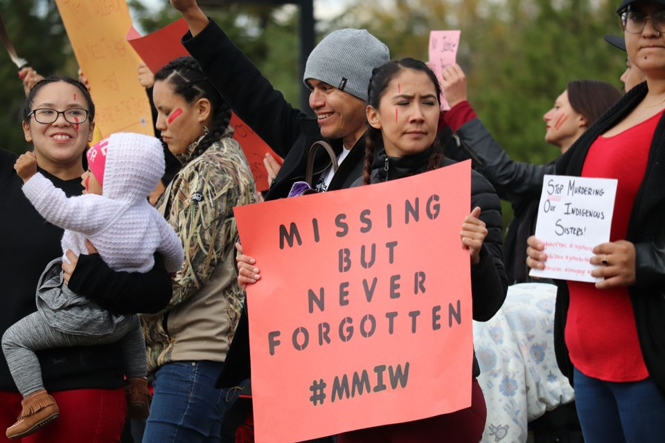 The #StandTogether rally to raise awareness of Murdered and Missing Indigenous Women and Girls took place along the Highway of Tears. (via Hanna Petersen).
