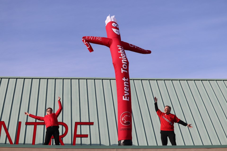 PG Cougars and the CN Centre unveiled their new inflatable tube man on Monday, Oct. 22. (via Hanna Petersen)
