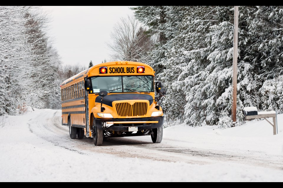 Area roads have been left slippery after a winter storm that blew through the region today. Students on buses are expected to be getting home a little later, say local school division officials.  (via Getty Images)