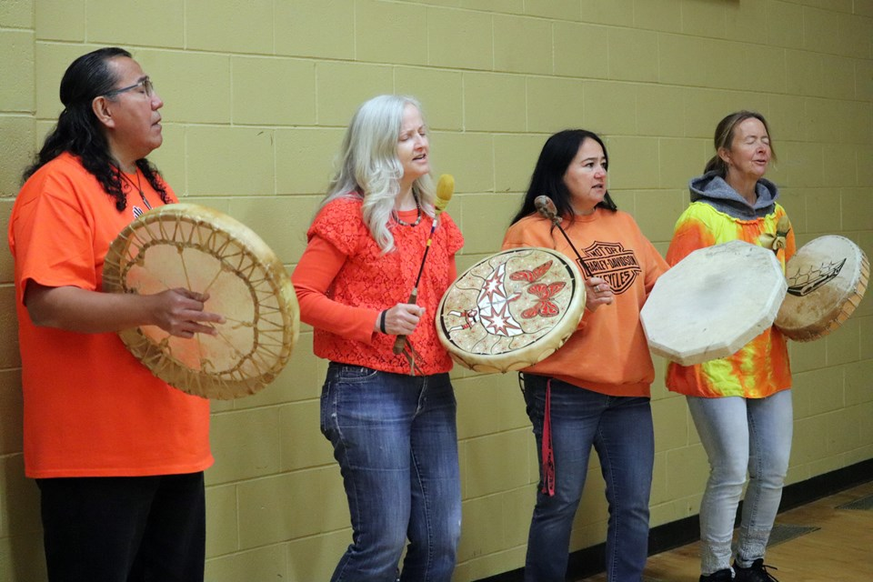 The assembly began with drumming as students entered. (via Hanna Petersen)