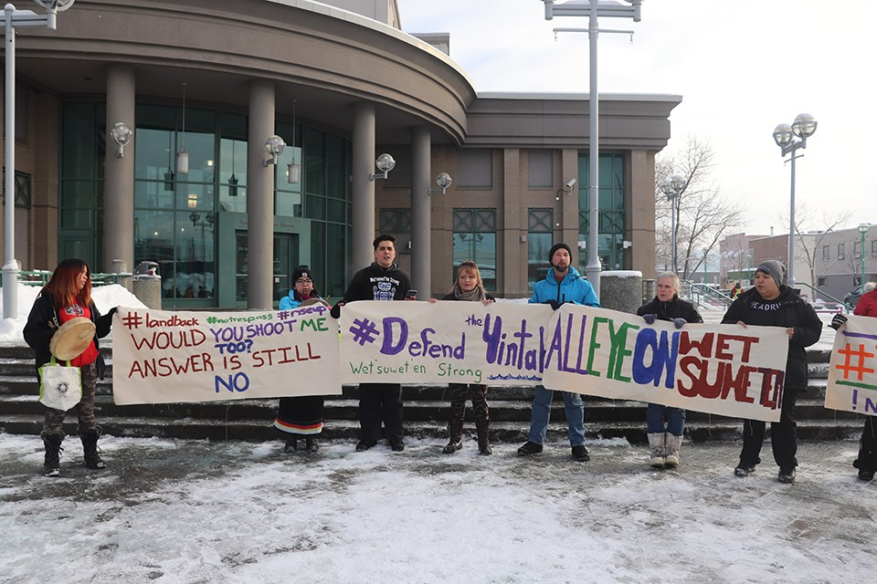 A rally was held at the Prince George Courthouse in support of Wet'suwet'en hereditary chiefs opposing Coastal GasLink's pipeline on Jan. 9. (via Hanna Petersen)