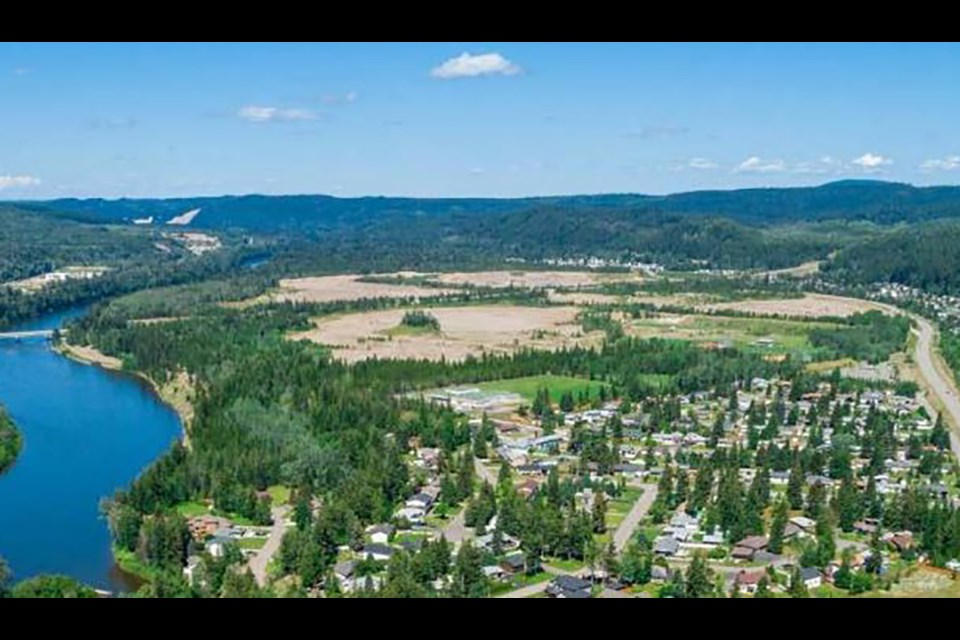 The area is largely undeveloped as gravel extraction operations have taken place in this location since the 1970s. (via City of Prince George)