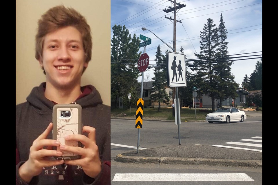 18-year-old Sean Lode was hit while in the crosswalk at First Ave and Ospika Blvd. (via Facebook)