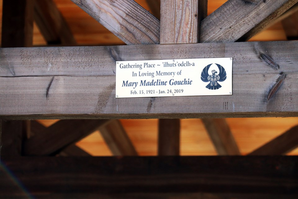 A special plaque in memory of Mary Gouchie was unveiled at the archway of the picnic shelter (Gathering Place). (via Jess Fedigan)