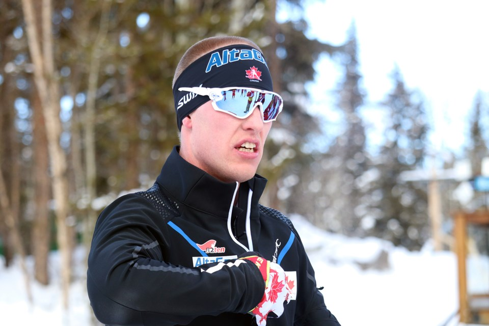 Mark Arendz awaits results of the Men Sprint, Standing race. (via Jessica Fedigan)