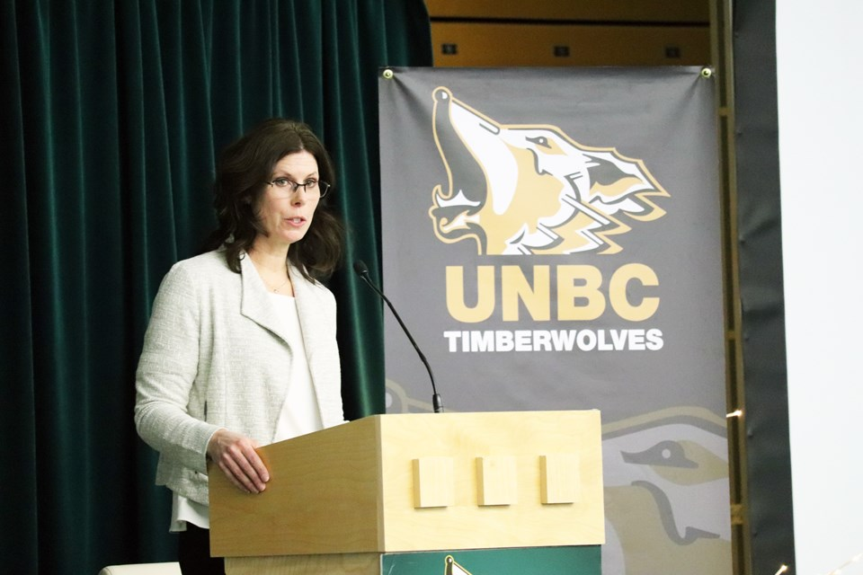 UNBC Director of Athletics and Recreation, Loralyn Murdoch gives opening remarks at the 2019 UNBC Legacy Breakfast. (via Kyle Balzer)
