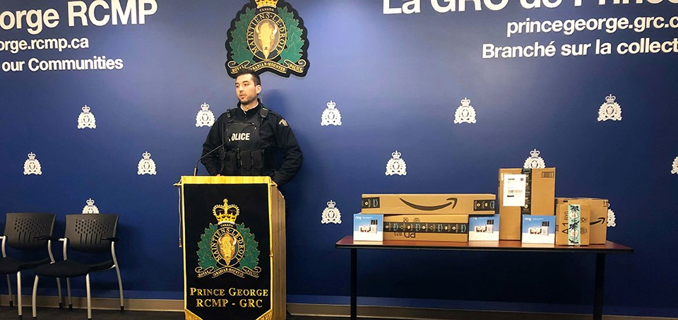 Prince George Cst. Brent Benbow (pictured) contacted Amazon to see about a partnership to deliver bait packages in the city. Photo by Jess Fedigan