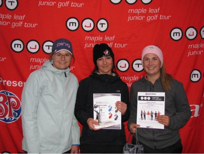 Prince George's Natasha Kozlowski (middle) won a tournament in Banff by 14 shots (via Maple Leaf Junior Golf Tour)