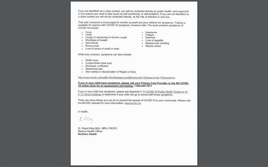 Van Bien exposure parent letter 2 - Nov. 16, 2020