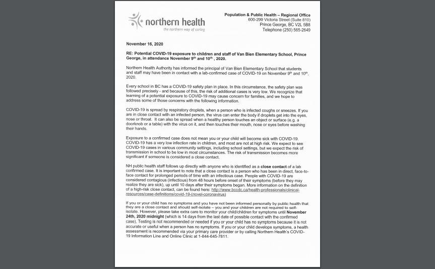 Van Bien exposure parent letter - Nov. 16, 2020
