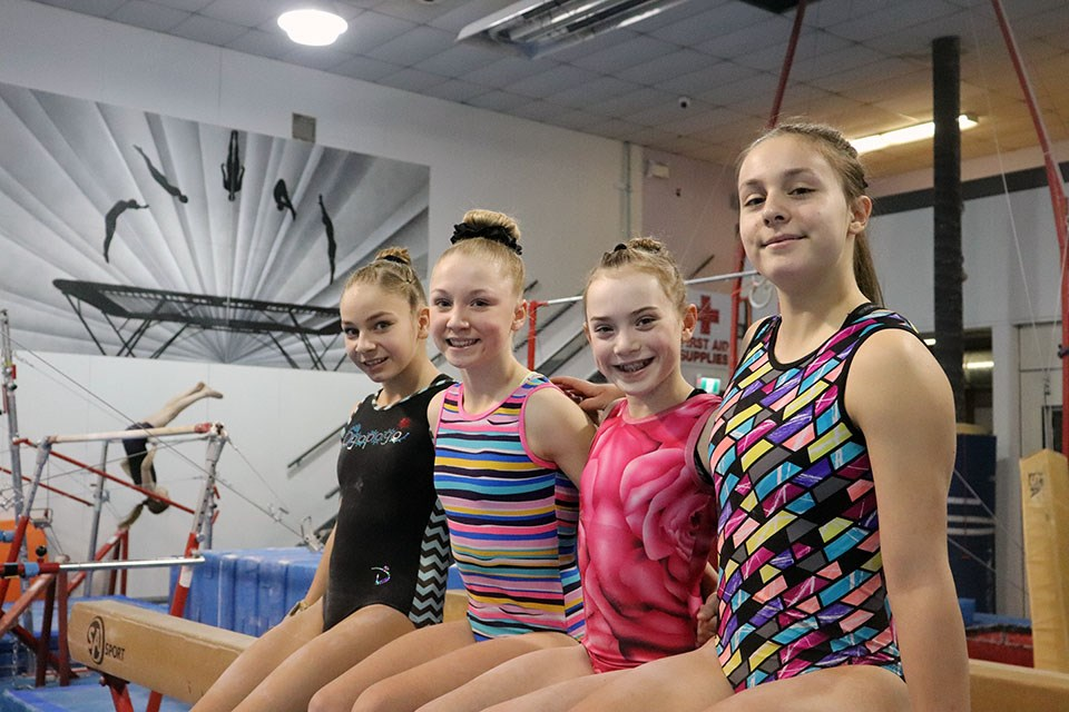 [From left to right] Kaydence Bellerive, Emery Kerr, Maija Coleman and Delaney Soares will all represent the Prince George Gymnastics Club at the 2020 B.C. Winter Games (via Kyle Balzer)