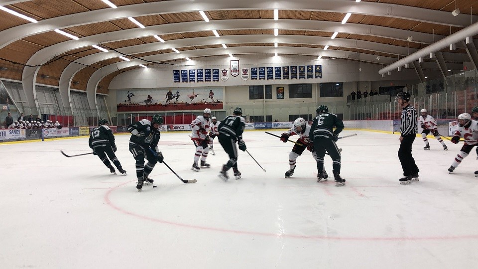 Cariboo Cougars in action at Kin 1 Arena against the North Island Silvertips to close out the 2019-20 season. (via Kyle Balzer)
