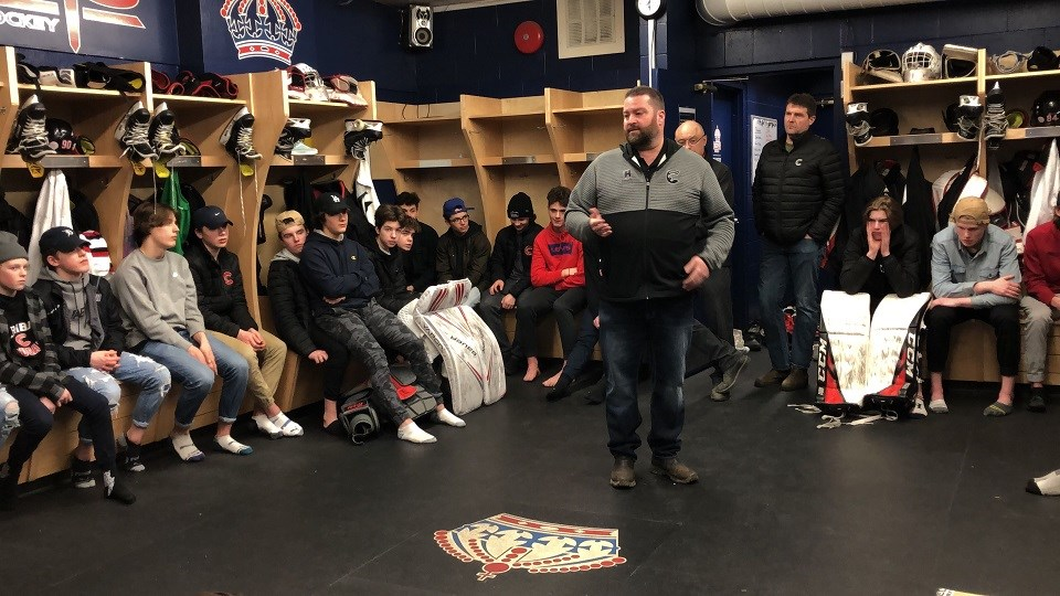Cariboo Hockey General Manager Trevor Sprague announcing the cancellation of the 2019-20 playoffs to his players due to COVID-19 on March 12, 2020. (via Kyle Balzer, PrinceGeorgeMatters)